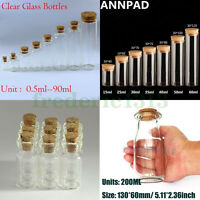 Wholesale 0.5-200ml Empty Vials Clear Glass Bottles & Corks Jars Small Bottles