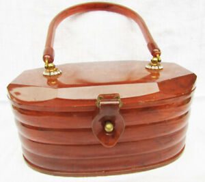Celluloid purse bag vintage brown with rhinestones near handle on top