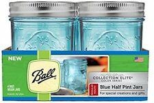 Blue Ball Mason Jars Regular Mouth Elite Collection Half Pint Jar Canning 4-Pack