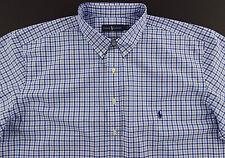 Men's RALPH LAUREN White Blue Windowpane Plaid Shirt 3XLT 3LT 3XT TALL NWT NEW