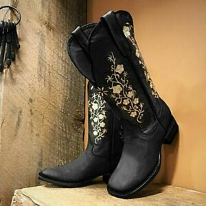 Women's Cowboy Cowgirl Boots Embroidered Western Mid Wide Calf Square Toe Cuban