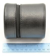 "Leitz Leica Black Leather Lens Case (Padded, zipper, ~3.6""tall, ~3.25""wide)"