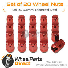 Red Wheel Nuts (20) 12x1.5 Tapered 34mm For Opel Monza 78-86