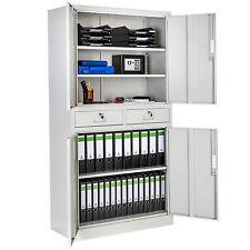 Armario de oficina metálico 2 cajones mueble archivador universal 180x90x40cm