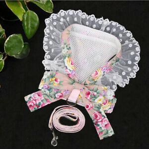 Cat Dog Harness Leash Set Pet Vest W/ Lace Bowknot For Yorkie Chihuahua Maltese