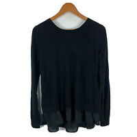 Seed Heritage Merino Wool Top Size Small Navy Blue Long Sleeve Round Neck