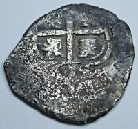1655 Spanish Silver 1 Reales Real Colonial Cob Pirate Shipwreck? Treasure Coin
