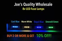 (20) WHITE/ BLUE LED 8V-29MM FUSE LAMPS STEREO/2000-3000A-3000/DIAL METER Sansui