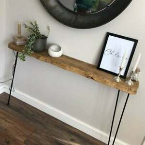 Live edge round corners console table with hairpin legs,rustic reclaimed wood
