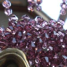 25 Perles Cristal -TOUPIES SWAROVSKI - AMETHYST - 4 mm