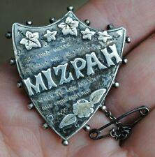 Victorian large solid sliver mizpah brooch