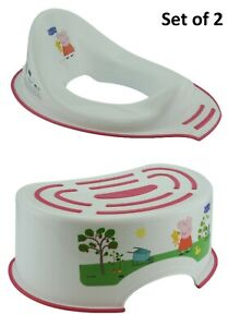 2x Pack Toddlers Peppa Pig Non Slip Toilet Training Seat & Step Stool 18m+