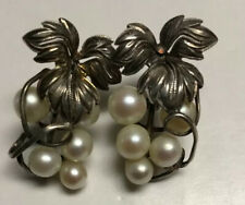 Vintage Silver Hanging Grape Cluster Bunches Pearl Pierced Earrings