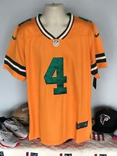 Green Bay Packers #4 Brett Favre Jersey Large(44) All Stitched Gold & Green