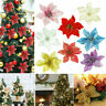 Glitter Xmas Poinsettia Flower Christmas Tree Hanging Ornament Party Decor US ch