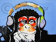 Canvas Street Art Print DJ Monkey girl chimp Painting 70cm Australia