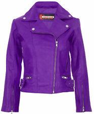 Women's Purple Vintage Jacket Super Retro Motorcycle Biker Ladies Fashion Jacket