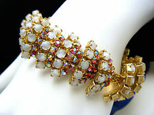 Stunning Alice Caviness Rhinestone Bracelet Layers Satin Glass Red AB Gold Tone