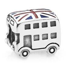 NEW 100% Authentic 925 Silver PANDORA LONDON BUS Enamel FLAG Charm 791049ER C56