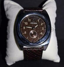 Croton Men's Stainless Steel Brown Dial Watch with Genuine Leather Strap