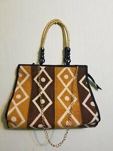"African mud cloth Women Bag Shoulder Handbag Inner Zip Pockets Size 16""X14"""