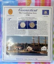 Connecticut Postal Commemorative Soc. State Coin and Stamp Panel Uncirculated