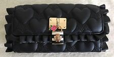 Betsey Johnson Flouncin Around Quilted Hearts Ruffle Black Wallet Clutch Bag NWT