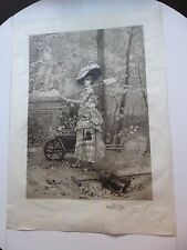 ARMAND EMILE MATHEY DORET REMARQUE PROOF ENGRAVING THE FLOWER SELLER