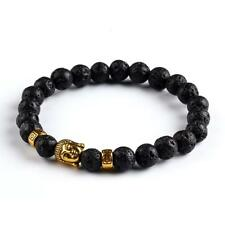 Buddha Meditation Prayer Bead Black Lava Stone Golden Buddha Stone Bracelet