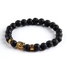 Buddha Meditation Prayer Bead Black Lava Stone Golden Buddha Stone Bracelet