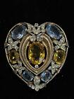 Rare Vintage Crown Trifari Vermeil Rhinestone  Heart Fur Clip Brooch Phillipe