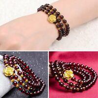 6mm Natural Wine Red Garnet Rose Buddha Beads Bracelet Women Prayer Fashion Gift