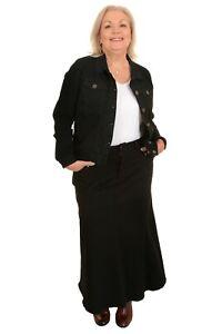 Ladies Plus Size Long Flared Black Stretch Denim Maxi Skirt Sizes 14 to 26