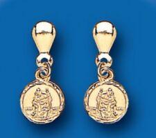 St. Christopher Earrings yellow Gold Drop Dangle Earrings