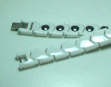 """MEN 12MM White CERAMIC & TUNGSTEN MAGNETIC Bracelet Length: 8.25"""""""