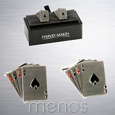 4 Aces Playing Cards Cufflinks - Rhodium Plated in Presentation Gift Box