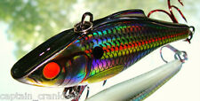 Rattlin Rapala RNR-08 Lure Holo.Shad w/Custom GLOWING RED FIBER OPTIC EYES!