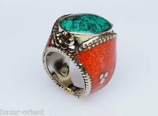 Traditioneller Tibetischer Türkis Ring tibetan turquoise ring neusilber  Nr.30