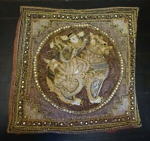 TXTY  VINTAGE THAILAND EMBROIDERED PILLOW COVER --- VERY USED
