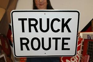 """Vintage 1960's Truck Route Ford Chevrolet Dodge Gas Oil 24"""" Embossed Metal Sign"""