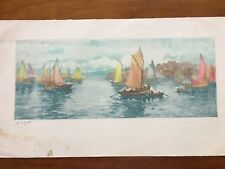 Original Vintage Color Etching By A Lafitte Alias Manuel Robbe Marine Scene