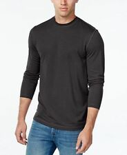 Tasso Elba Mens Micro-Grid Long-Sleeve T-shirt Grey Black 3XLT