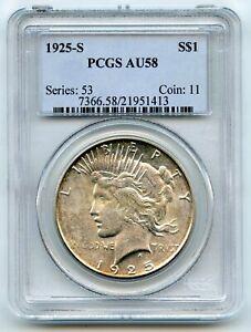 1925-S Silver Peace Dollar PCGS AU58 Certified - San Francisco Mint BR50