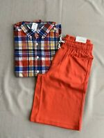 NWT Gymboree 10-12 (L) Boys Long Sleeved Plaid Shirt & Shorts