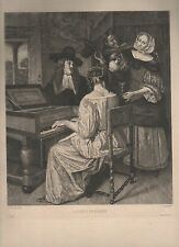 gravure eau forte dess.par Jan Steen,grav. par Gaujean.La leçon de musique.Piano