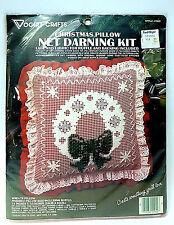 "Net Darning Kit Vintage NOS Vogart Crafts Christmas Wreath Pillow 14""  #2942"