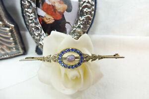 Vintage Art Deco Opaline & Royal Blue Diamante Bar Brooch