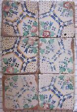 sei riggiole piastrelle mattonelle maioliche antiche in cotto 20x20 lotto143