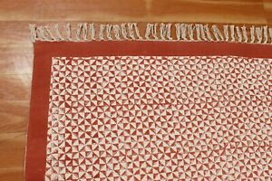 Hand Block Printed Cotton Dhurrie Area Rugs Kilim Throw Rug New Carpet 6x9 8x10