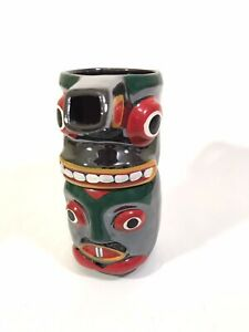 Totem Stackable Cream And Sugar Hand Painted Redware